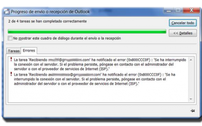 Error 0x800CCC0F Problemas con el Outlook