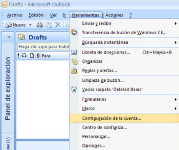 Configurar correo en Microsoft Outlook 2007