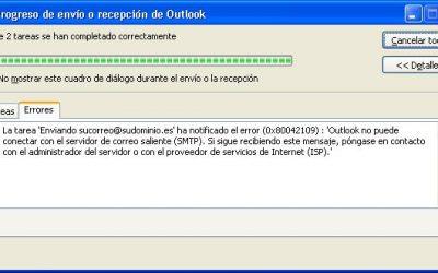 Error 0x80042109 – Problemas con el Outlook – La tarea -Enviando- ha notificado el error