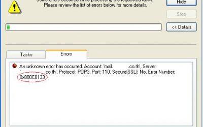Error 0x800C0133 Problemas con el Outlook