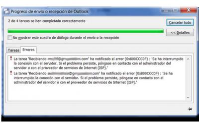 Error 0x800CCC0F Problemas con el Outlook