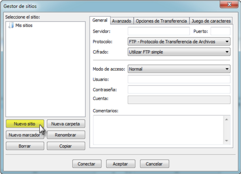 Programa FTP – FileZilla